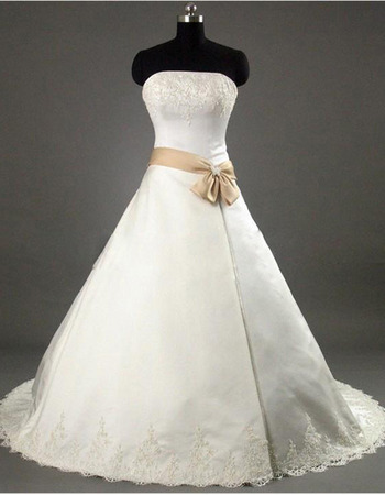 Elegance Strapless Court Train Satin Wedding Dress With Beaded Lace Appliques