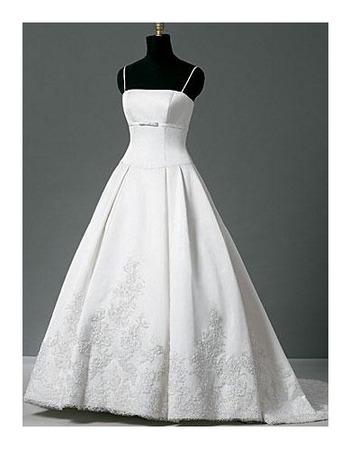 A-Line Slender Straps Beading Appliques Court Train Satin Wedding Dresses