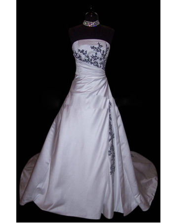 Exceptional A-Line Strapless Court Train Satin Wedding Dresses with Colored Embroider