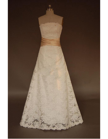 Discount A-Line Strapless Sweep train Lace Wedding Dresses with Belt
