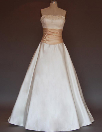 Elegant A-Line Beaded Strapless Satin Wedding Dresses with Bowknot