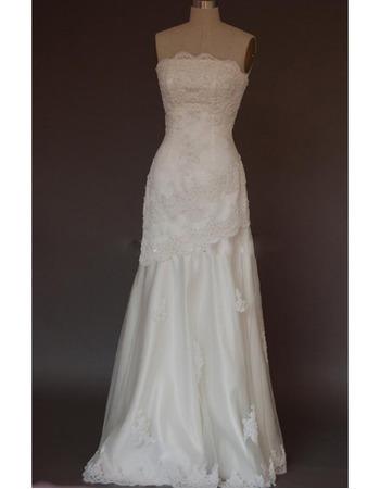 Elegance Full Length Strapless Lace Appliques Beading Tulle Wedding Dresses
