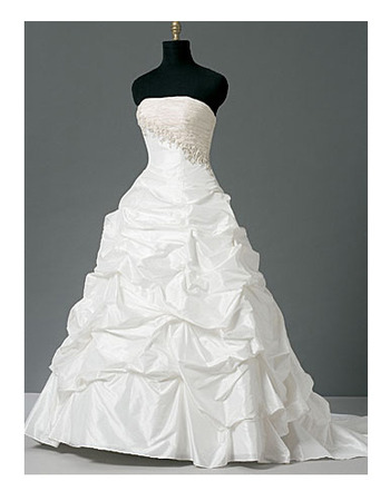 Glamorous Ball Gown Strapless Asymmetrical Waistline Taffeta Bridal Gown