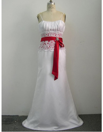Classy Colored Slender Straps Court Train Satin Wedding Dresses with Lace Waist