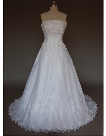 Attractive A-Line Strapless Beading Appliques Satin Wedding Dresses