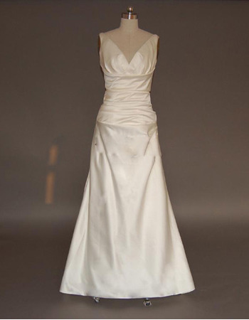 Discount Simple Sheath V-Neck Satin Wedding Dresses with Ruching Detail