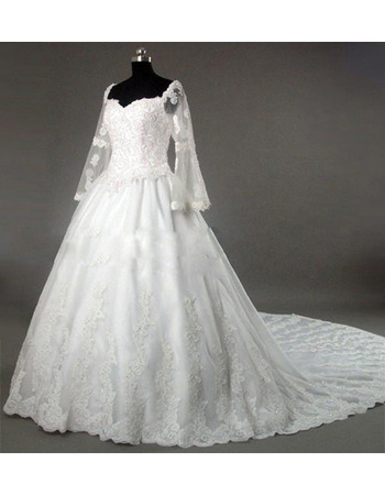 Gorgeous Beading Appliques Tulle Over Satin Wedding Dresses with Long Bell Sleeves