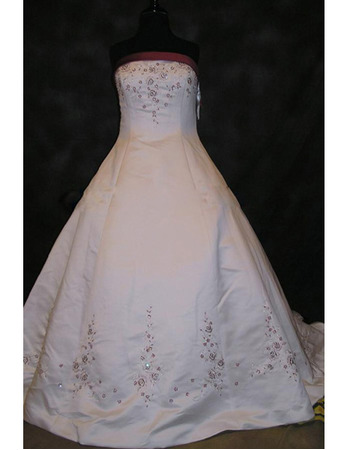 Luxury Ball Gown Strapless Chapel Satin Beading Plus Size Colored Wedding Dresses