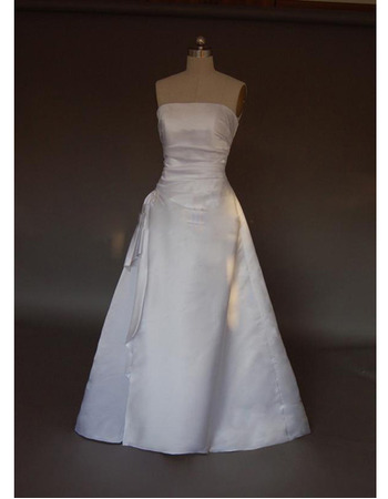Simple Elegant A-Line Strapless Sweep train Satin Wedding Dresses with Slight Ruch Detail