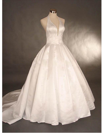 Simple Ball Gown Halter Deep V-Neck Court Train Satin Wedding Dresses