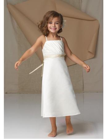 Pretty A-Line Spaghetti Strap Sleeveless Tea Length Flower Girl Dress