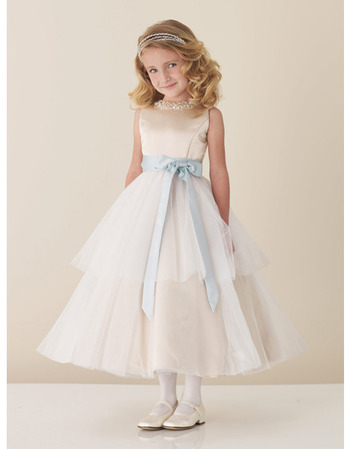 Beautiful Ball Gown Sleeveless Satin Tulle Beading Flower Girl Dresses with Beading Neckline and Colored Sash