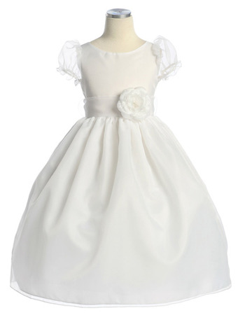 Pretty Ball Gown Organza Flower Girl Dress with Short Puff Sleeves and Hand-made Flowers