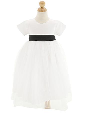 Cute Ball Gown Round Short Sleeves Tulle Satin Flower Girl Dresses