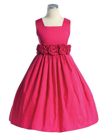A-Line Square Sleeveless Tea Length Taffeta Little Girls Party Dresses