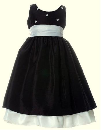 A-Line Round Sleeveless Tea Length Taffeta Little Flower Girl Dresses