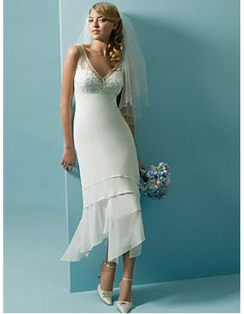 Chic Sheath V-neck Short Illusion Chiffon Tea Length Wedding Dresses ...