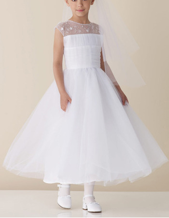 A-line Sleeveless Ankle Length Tulle Beading First Communion Dresses
