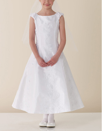 Designer A-Line Sleeveless Ankle Length White First Communion Dresses