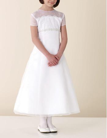 A-Line Short Sleeveless Tea-length Girls Organza First Communion Dresses