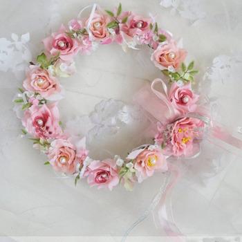 Beautiful Lotus and Rose with Diamond Bridal Garland Crown/ Halo
