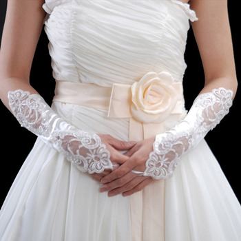 Affordable Elastic Satin Elbow Embroidery With Beadings Wedding Gloves