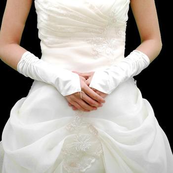Elastic Satin Elbow Beadings Wedding Gloves