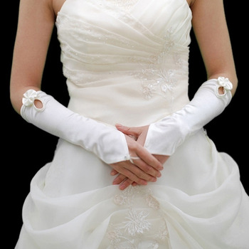 Elastic Satin Elbow Bow Wedding Gloves