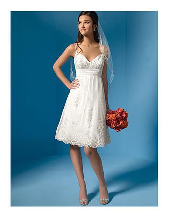 Affordable A-Line Slender Straps Knee Length Appliques Tulle Wedding Dresses
