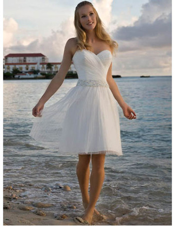 Inexpensive A-Line Sweetheart Knee Length Beach Short Tulle Wedding Dresses