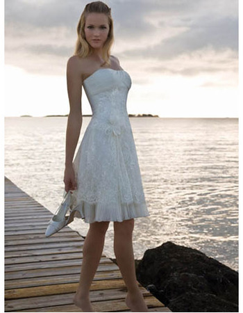 Discount A-Line Strapless Short Beach Lace Empire Wedding Dresses
