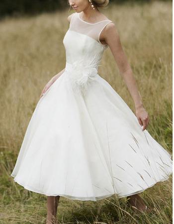 Elegant A-Line Bateau Tea Length Satin Organza Wedding Dresses