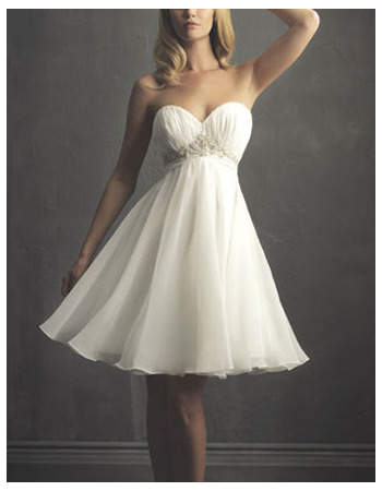Charming Beaded Empire Sweetheart Chiffon Knee Length Summer Beach Bridal Gowns