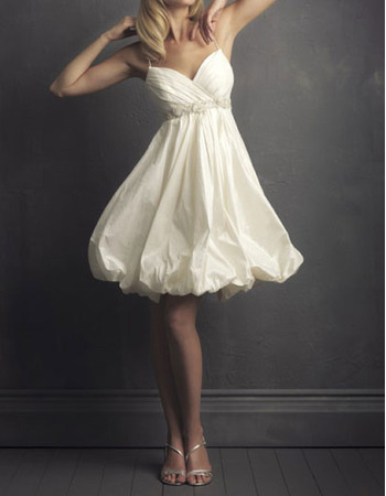Cute Beaded Empire Spaghetti Strap Knee Length Taffeta Bridal Wedding Dress with Bubble Skirt