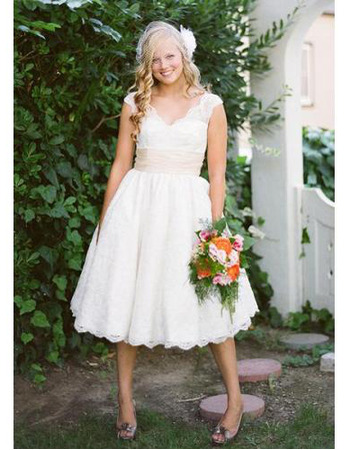 Custom Ball Gown V-Neck Short Lace Custom Tea Length Wedding Dresses