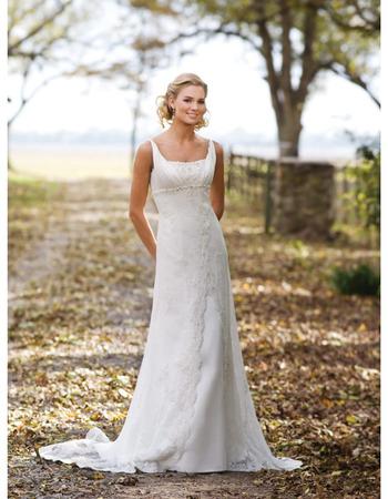 Romantic Square Straps Chapel Beading Satin Lace Wedding Dresses