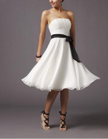 Elegant A-line Strapless Knee Length Chiffon Satin Sash White Bridesmaid Dresses