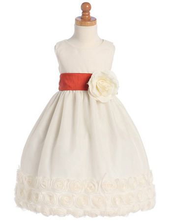 A-line Scoop Ankle Length Tulle Bow Flower Girl Dress with Floral Belt