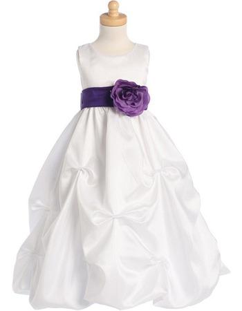 Cute A-line Long Taffeta Bow Flower Girl Dresses with Floral Belt