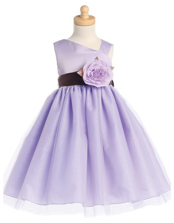 Ball Gown Tea Length Tulle Bow Little Grils Dresses with Floral Sash