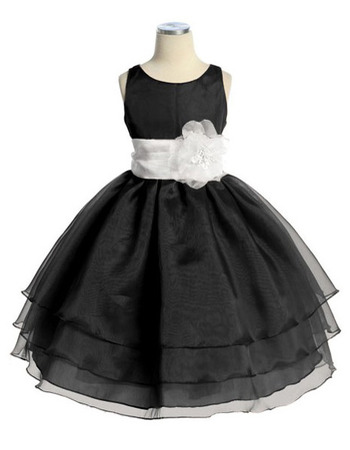 Ball Gown Tea Length Little Girls Dresses with Sash and Layered Skir