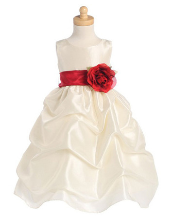 Ball Gown Scoop Tea Length Ruffle Flower Girl Dresses with Floral Sash