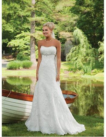 Modern Delicate Sheath Beaded Sweetheart Floor Length Lace Appliques Bridal Wedding Dresses