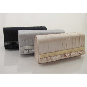 Inexpensive Satin Evening Clutches/ Purses with Acrylics Single Crossbody Strap for wedding day