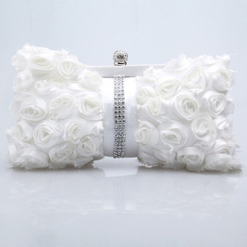 Most fashionable Satin Evening Handbags/ Clutches/ Purses with Flower