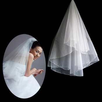 1 Layer Tulle Wedding Veil with Beading