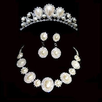 Chic Crystal Earring Necklace Tiara Set Wedding Bridal Jewelry Collection