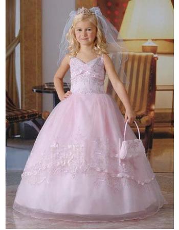 Designer Floor Length Beaded Appliques Ball Gown First Communion Dresses