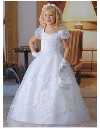 Classic Princess Toddler Short Puff Sleeves White Bubble Skirt First Communion Dresses
