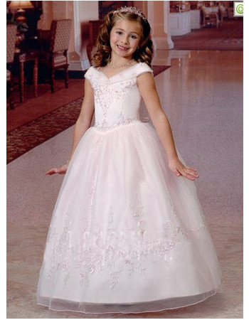 Pretty Princess Beaded Embroidery Ball Gown Organza First Communion Dresses with Strappy Back